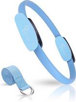 MIYYO Pilates ring blauw | Inclusief gratis yoga riem (blauw) t.w.v. 9,95 | Yoga ring | 38cm
