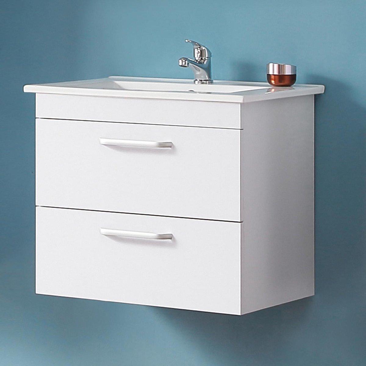 Badmeubel 60 cm Mat wit met onderbouwkast, keramiek Wastafel, Badmeubel met waskom, Badkamermeubel Set, Wandkast