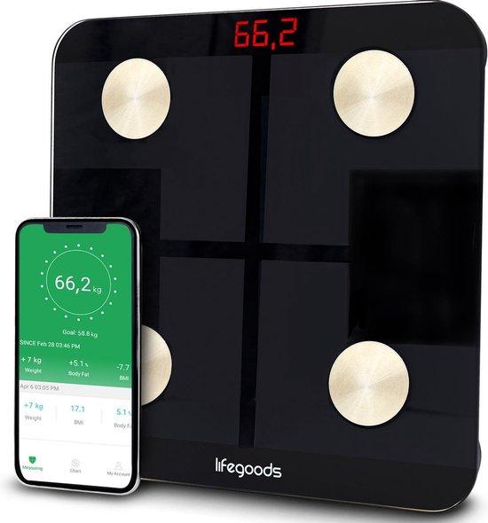LifeGoods Slimme Weegschaal - 11x Lichaamsanalyse o.a. Vetpercentage - Digitale Personenweegschaal met App