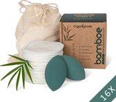 OrganiGoods 16 Herbruikbare Wattenschijfjes – Wasbare Wattenschijfjes – 2x Beauty Blender Latexvrij – Wattenschijfjes Wasbaar – Make Up Pads – Duurzaam – Zero Waste Project – Bamboe