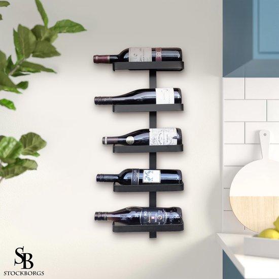 Wijnrek - Wijnrek zwart - Wijnrek hangend - 5 Flessen - Zwart - Staal