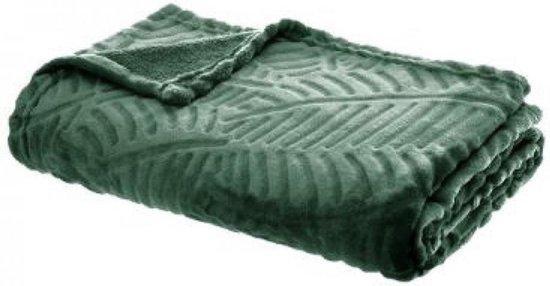 Woonplaid 125 x 150cm | Fleecedeken | met palmblad motief | Smaragdgroen