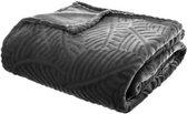 Plaid   AntracietGrijs   Fleece-plaid met palmblad patroon   Deken   240x220cm
