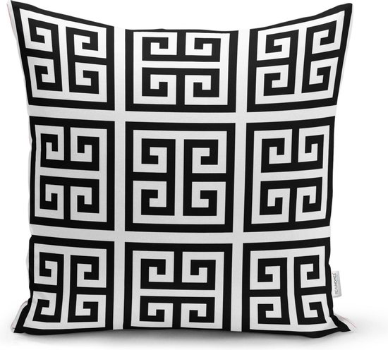 Decoratieve sierkussen zwart en wit doolhof patroon - Kussens woonkamer -...
