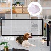 ACE Pets - Oprolbaar Hondenrek voor Binnen - Traphekje Hond Zonder Boren - Veiligheidshek Deurhekje - 110 x 72 cm - Zwart