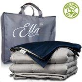 Ella XL Verzwaringsdeken Katoen 13 kg 200 x 220 cm - Bundel met Hoes - Verzwaarde deken Incl. Grijs & Blauw Biologisch Katoenen Overtrek