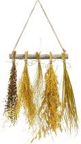 Houten decoratie-hanger met 5 siergrassen, 100% natuurproduct. 40 x 50 cm