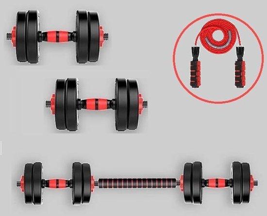 Halter Set 15 kg – Gewichten – Dumbbell Set – Inclusief Halterstang – Met Gratis Springtouw