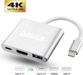 USB C Hub 3 in 1 | van USB-C naar HDMI, USB 3.0 & USB-C van Douxe©