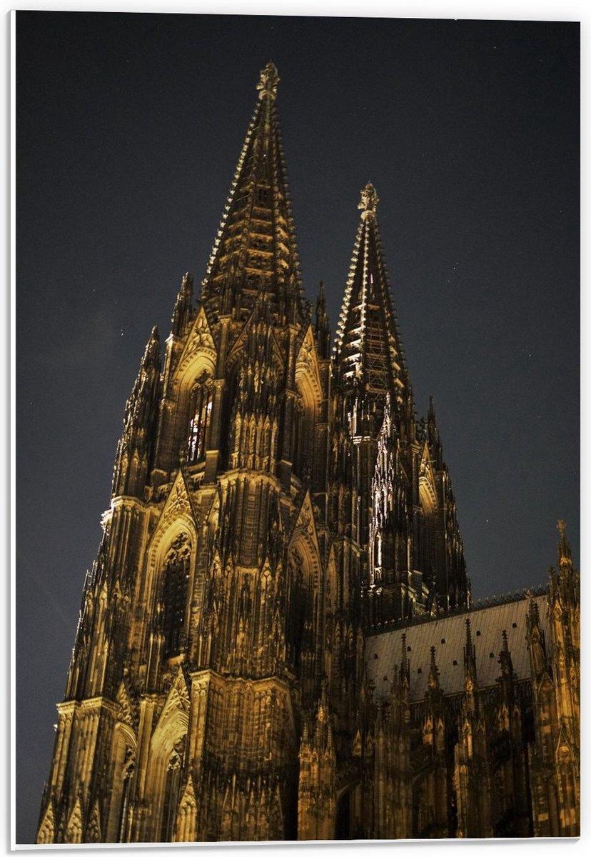 Forex - Domplatte Goude Kerk in Keulen - 40x60cm Foto op Forex