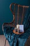 Mistral Home - Geschenkset - Giftbox - Flannel plaid 130x170 cm met 3 rustieke kaarsen en postkaartjes - Blauw
