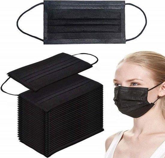 Afbeelding van Mondkapje zwart niet medisch 3 laags  Mondmasker vrij van latex en waterafstotend  Per 50 stuks  