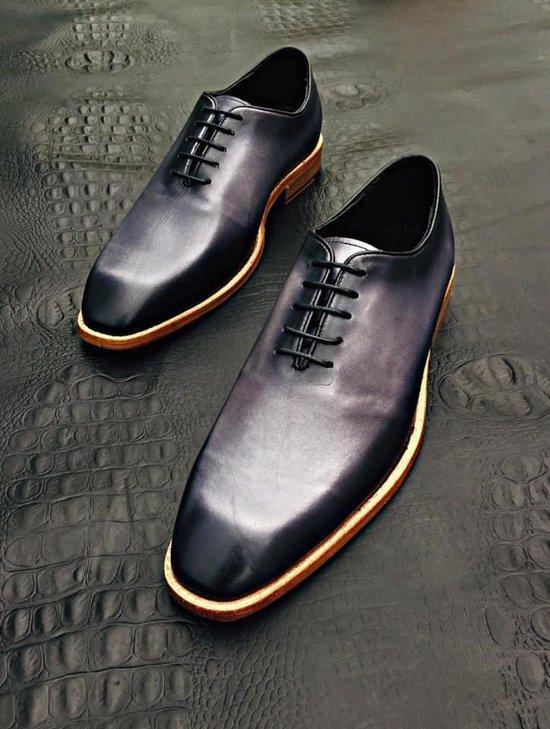 Volledig Lederen Herenschoen, blauw met zacht grijs en zwart, maat 42