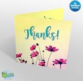 Muziekwenskaart – Thanks – spreek zelf in – 60 seconden – 21x21cm – hoge kwaliteit – inclusief envelop - wenskaart met geluid