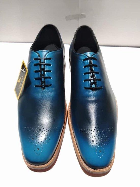 Volledig Lederen Herenschoen, blauw turquoise met zwart, maat 46