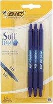 BIC balpen soft feel clic - Blauw - 3 stuks - 1mm puntdikte