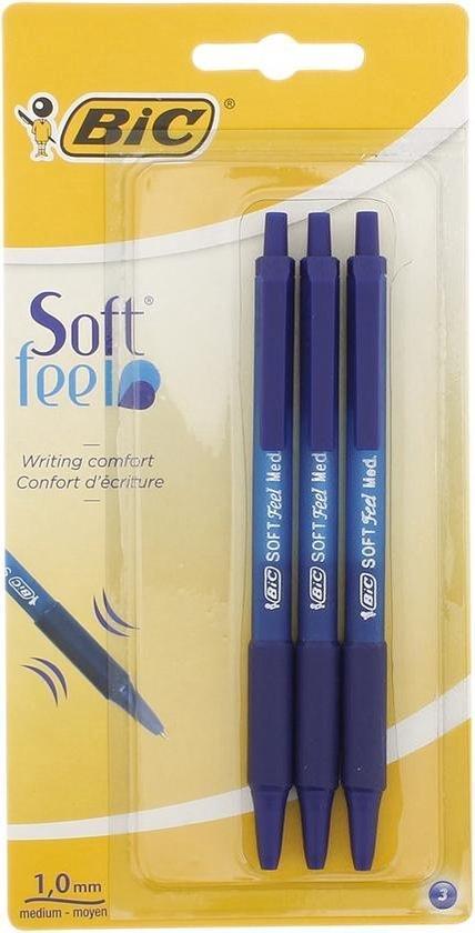 Afbeelding van BIC balpen soft feel clic - Blauw - 3 stuks - 1mm puntdikte