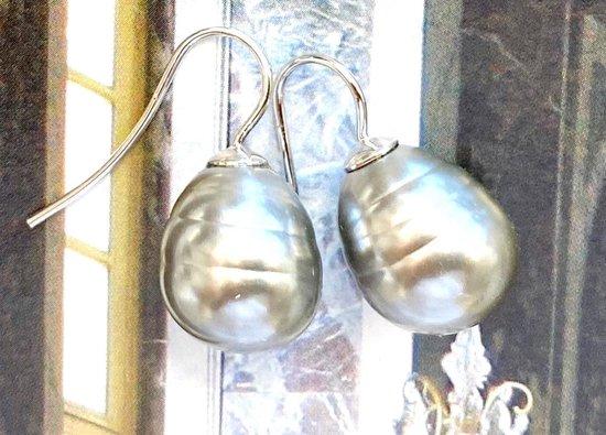 Oorbellen parel grijs/zilver - Chic le Freak