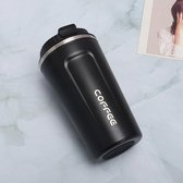 Koffiebeker To Go | Lekvrije Thermosbeker | Thermosfles | RVS Reisbeker | Dubbelwandige Travel Mug | 350 ml | Zwart
