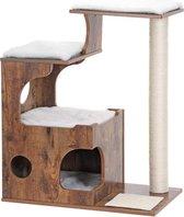 MIRA Home - Krabpaal voor katten - Krabpaal - Hout/Sisal - Bruin/Zwart - 66x42x88