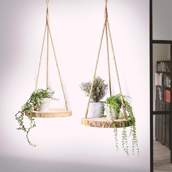 Plantenhanger Boomstam Schijf | 35-40cm | Handgemaakt | Planten-houder / Hang-plant | Planten Accessoires | Decoratie Houten Hang Plank |