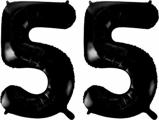 Folieballon 55 jaar zwart 86cm