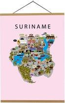 Kaart van Suriname   B2 poster   50x70 cm   Roze   Maison Maps