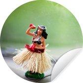 Hula danseres op dashboard - ⌀ 30 cm - rond schilderij - behangcirkel - muurcirkel - wooncirkel - zelfklevend & rond uitgesneden