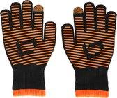 Brabo - BC7013 Wintergloves Swipe Bk/Or (per 10) - Black/Orange - Unisex - Maat Teen
