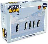 Puzzel Pinguïns 1000 stukjes - Vijf keizerpinguins