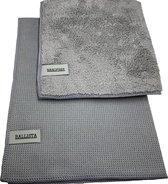 Ballista raamdoeken beide grijs 1 droogdoek 45 x 60 cm + 1 nanofiber inwasdoek 40 x 40 cm