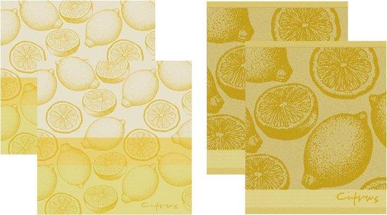 DDDDD Citrus - 2 Theedoeken & 2 Keukendoeken - Yellow