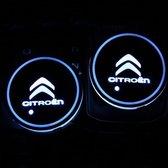Coole Lichtgevende LED Onderzetters - Bekerhouders - Sfeerverlichting - LED Licht - Interieur Verlichting - 7 Verschillende Kleuren LED - Opladen via USB –  Citroën