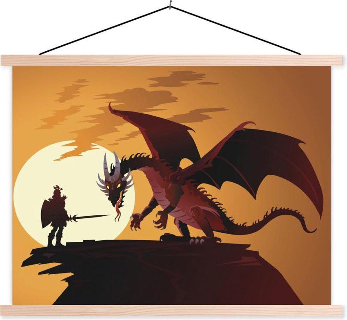 Illustratie van een draak en een ridder bij zonsondergang textielposter latten blank 150x113 cm - Foto print op schoolplaat (wanddecoratie woonkamer/slaapkamer)