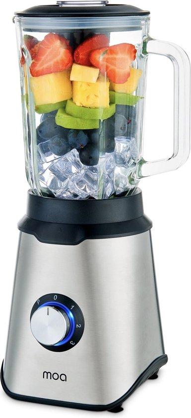MOA Krachtige Blender - Met glazen kan - Blender Smoothie - ice crusher - 1,5 liter - 1000 Watt - TB61