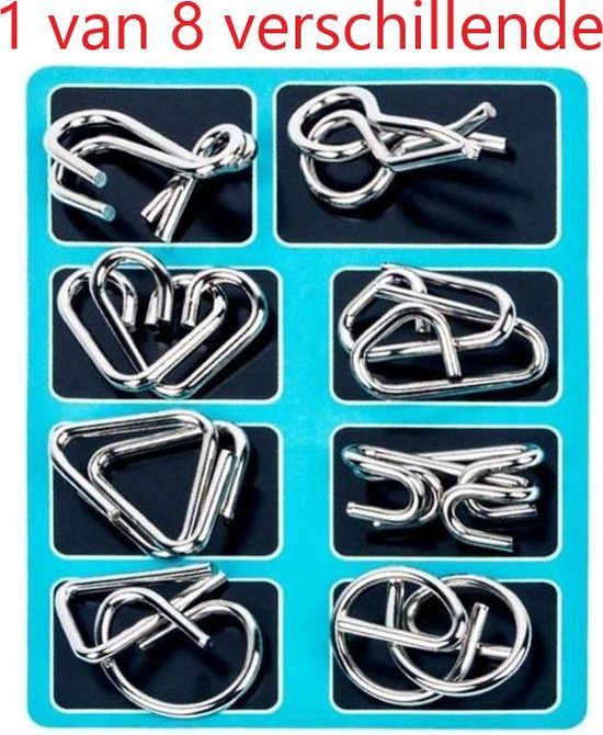 Afbeelding van het spel 1 van 8 verschillende Random Gekozen Metalen Puzzel Breinbreker Hersenkraker Denkspel Puzzel Brain Teaser Geduldspel Blauw Stipco