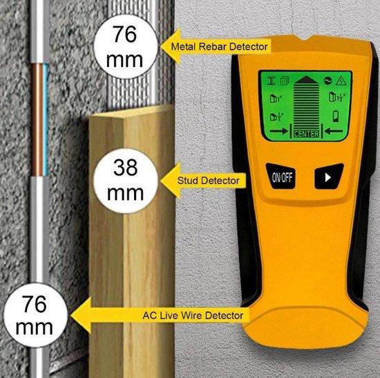 Repus digitaal leidingzoeker - detectie apparaat - detector - 3 in 1 Detector voor Muren - Hout, Metaal, Leidingen, Bedrading - LCD display - incl. Batterijen