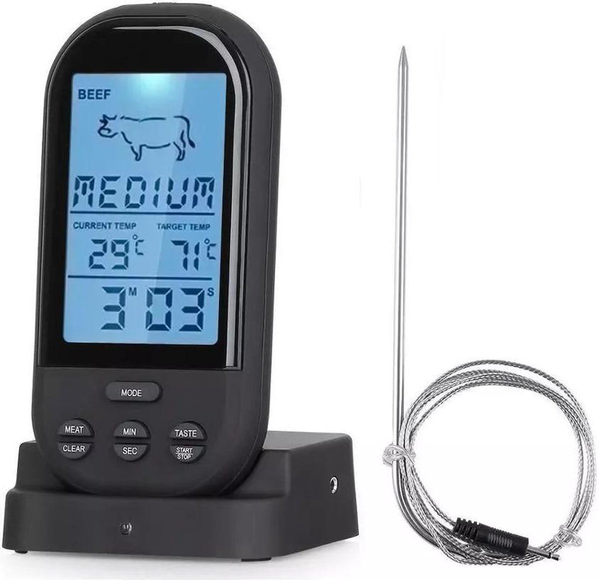 Able & Borret | Vleesthermometer | BBQ thermometer | Kernthermometer | Draadloos | Zwart