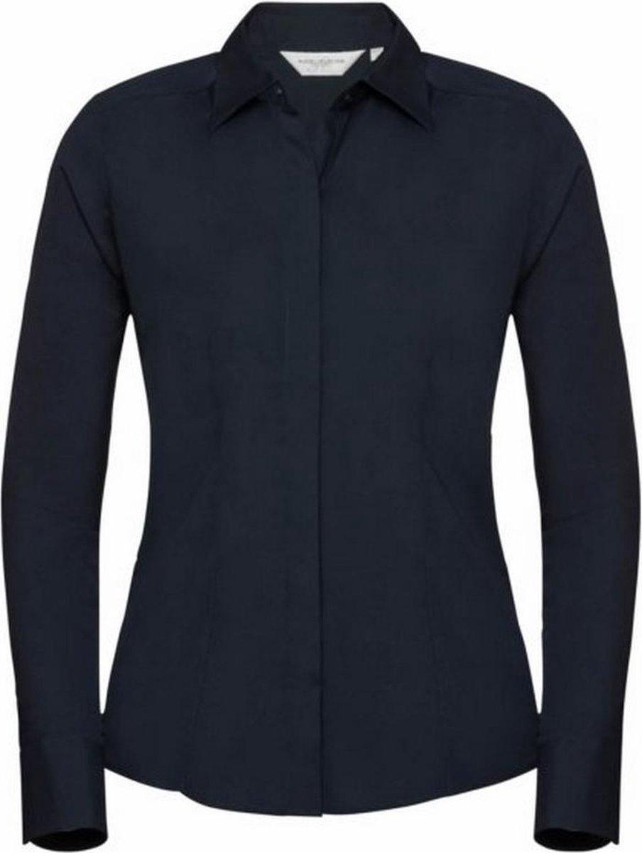 Russell Collectie Dames/Dames Lange Mouwen Poly-Katoen Gemakkelijk Onderhoud Gepaste Poplin Shirt (Franse marine)