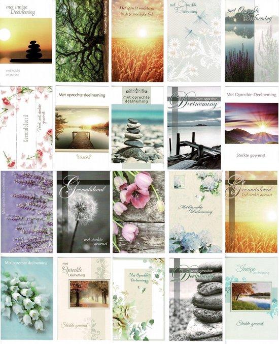 20 Luxe condoleance wenskaarten - Oprechte Deelneming - 16x11cm - gevouwen kaart met envelop
