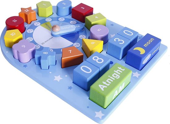 Afbeelding van het spel houten horloge educatief voor kinderen speelgoed