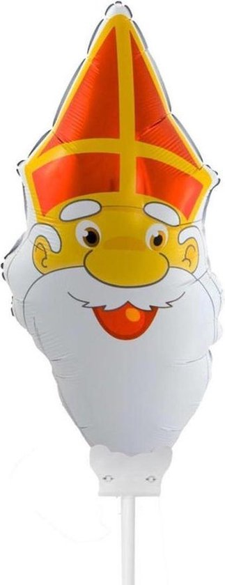 Set van 12x Sinterklaas gezichtje folie ballonnen 22 cm - Sinterklaas thema ballonnen/versiering
