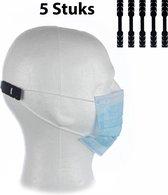 Siliconen Mondkapje Houder (5 Stuks) Zwart - Voorkomt Irritatie en Pijn - Houdt uw Mondkapje Strak - Earbuddie - Mondkapje Verlenger - Mondmasker Houder - Sileconen