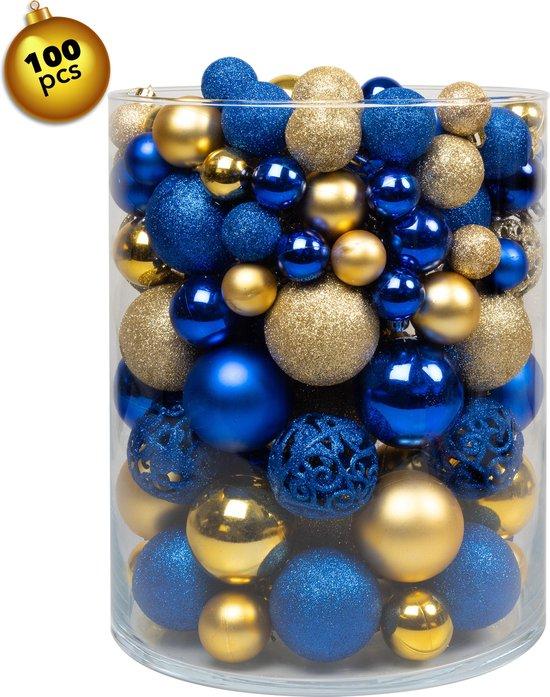 Kerstballen Plastic – Kerstballen Goud & Blauw - Kerstballen set van 100 stuks