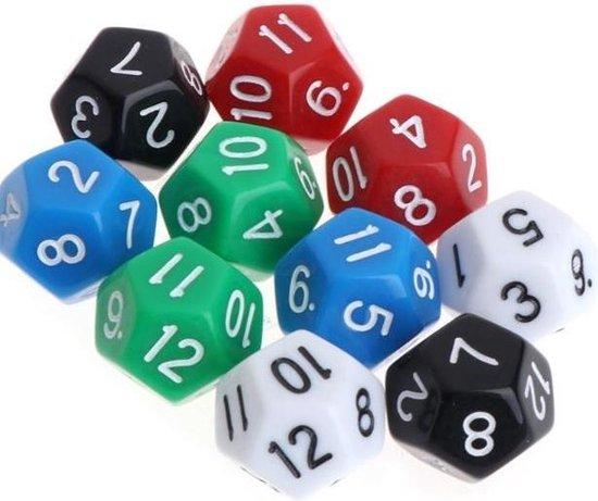 Afbeelding van het spel 12-Kantige Dobbelsteen (SET van 10 STUKS) D12 5 Verschillende Kleuren Stipco