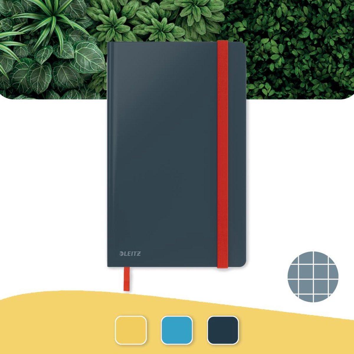 Leitz Cosy Notitieboek A5 Soft Touch Geruit - Notitieboek Hard Cover - Fluweel Grijs