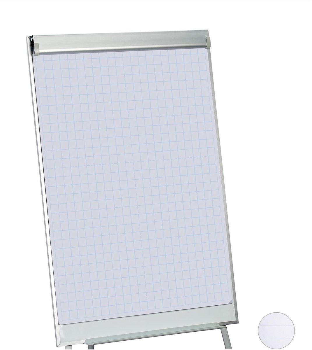 relaxdays flipover papier - flipchart papier - whiteboard papier - 50 vellen - papierblok Geruit