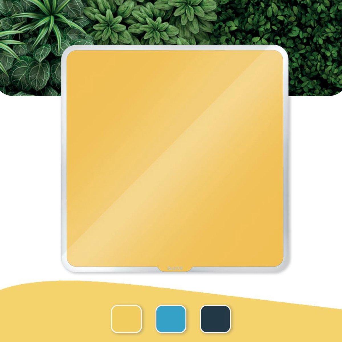 Leitz Cosy Glazen, Magnetisch Whiteboard Montageset - Glassboard Inclusief Microvezeldoek, Uitwisbare Marker Met Wisser - 450x450mm - Warm Geel