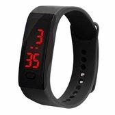 LED Sporthorloge - Digitaal Horloge - Kinderen - Rubber - Zwart/ Wit - Ø 20 mm
