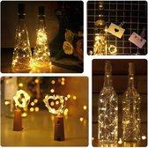 Kurk met LED lichtsnoer voor in (wijn)fles - !!  2 meter - 20 lampjes - GRATIS BATTERIJEN - Kerstverlichting - Flessenverlichting - Flessen verlichting/lichtjes/led lampjes warm wit